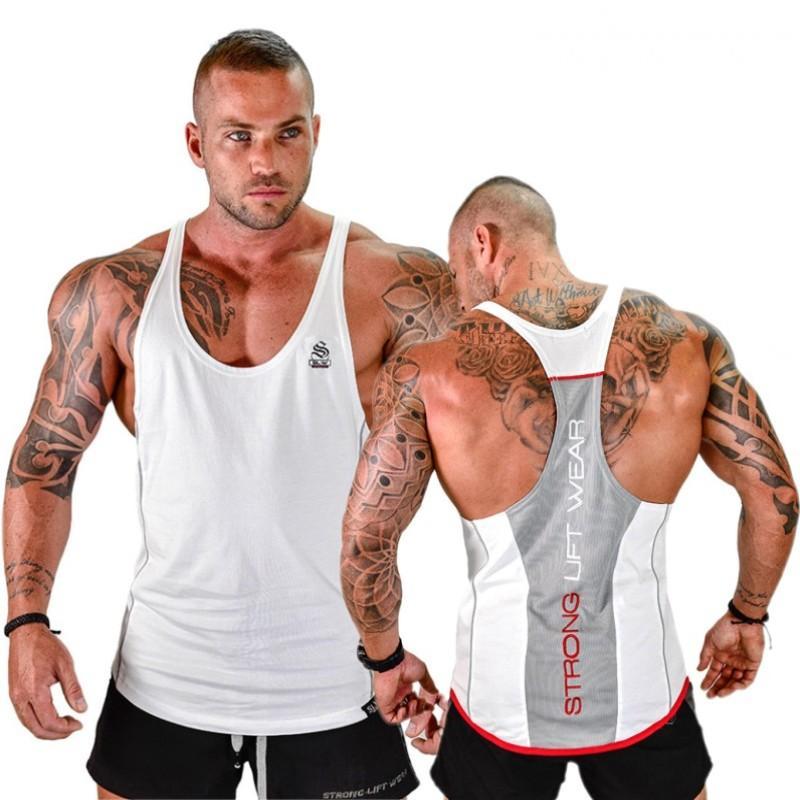 Güçlü Kaldırma Pamuk Spor Salonları Tankı Erkekler Kolsuz tanktops İçin Boys Vücut Giyim Atlet Spor Stringer Vest Tops