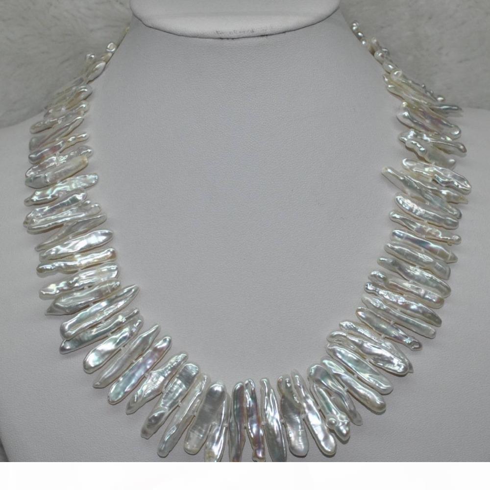 Spedizione Gratuita 003.521 SPLENDIDA naturale Rare 17 millimetri bianco Keshi Collana di perle stecchino