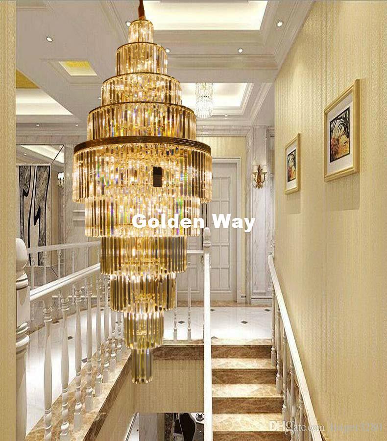 Araña de cristal de cristal K9 para la escalera del pasillo del hotel Doble Suelo de cristal de la lámpara LED D60cm moderna de oro de lujo 100% garantizada