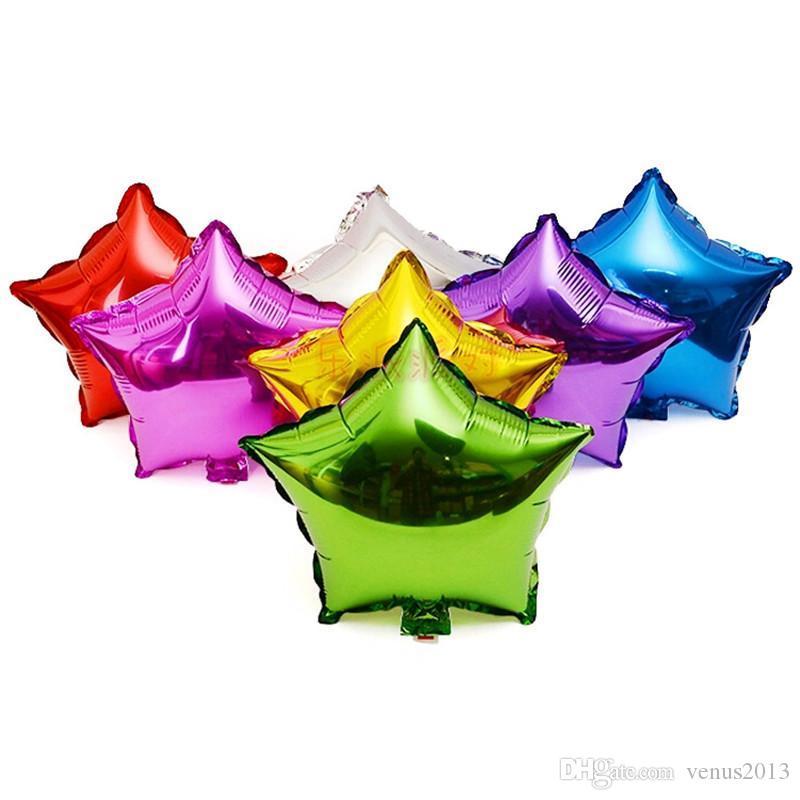 18 بوصة خمسة نجوم مدببة بالونات الهيليوم الألومنيوم احباط لحضور حفل زفاف والأحداث 9 ألوان