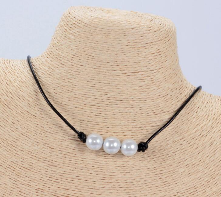 Bohemia Simple Pearl Necklace Leather Rope Colorful Single Pendants Necklaces Luxurious Exquisite Collar For Women Fine Jewelry Gift New
