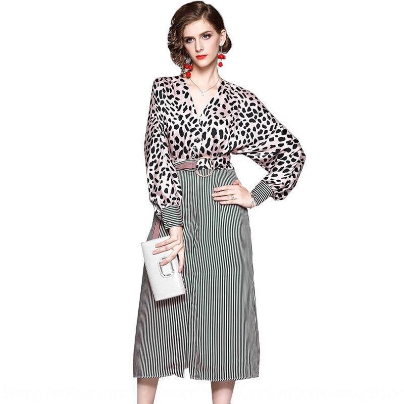 ilr1F вечер Женского платье нового V-образный вырез летучая вечер 2019 с длинными рукавами розового леопарда полоса платья New