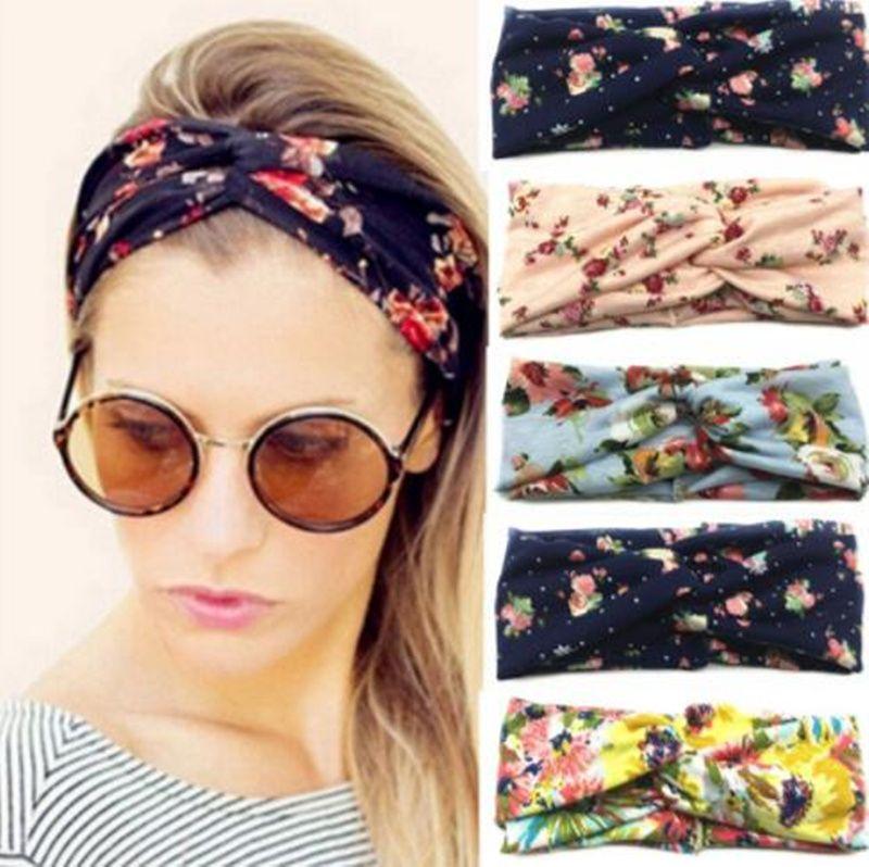 Женщины Twist Тюрбан Цветочный дизайнер Печать оголовье Stretch Спорт Йога Hairbands Для девочек Headwrap Бандана Аксессуары для волос ювелирные изделия