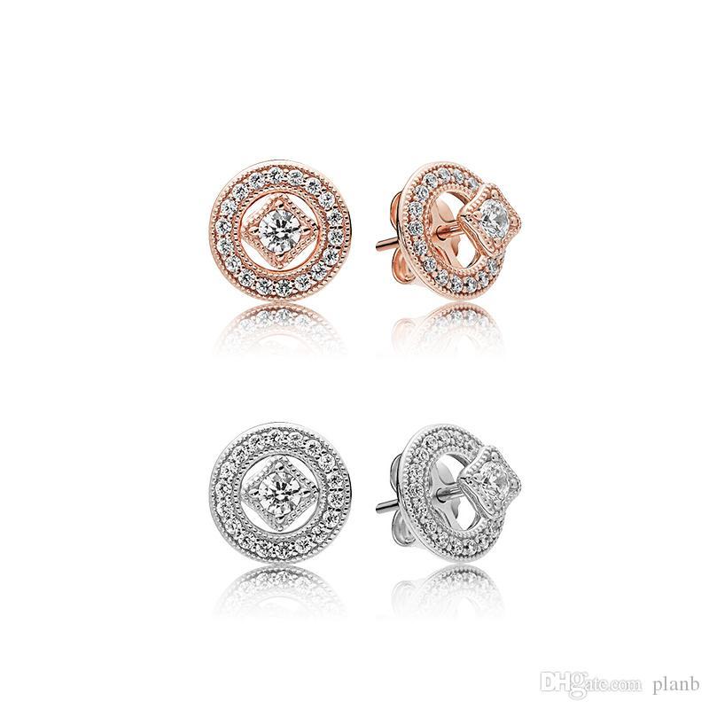Or Rose 18K Vintage Allure Boucles D'oreilles Original Box pour Pandora 925 Argent Sterling CZ Diamant Femmes Filles Cadeau Boucle D'oreille Ensemble