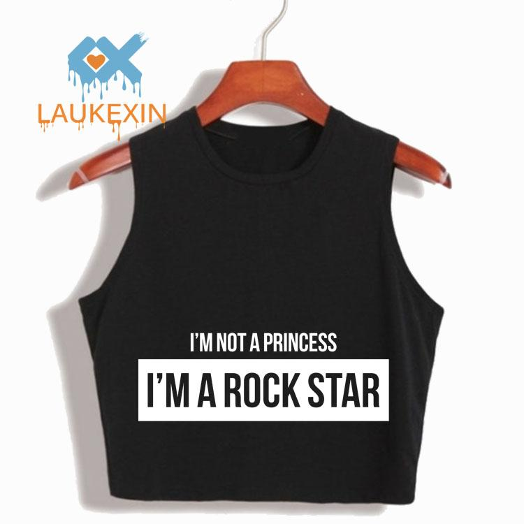 NON SONO UNA PRINCIPESSA, SONO UN ROCK STAR HIP HOP LETTER PRINT DONNA SEXY CROP TOP NERO CAMI TOP CROPPED FOR GIRLS TANK TOP