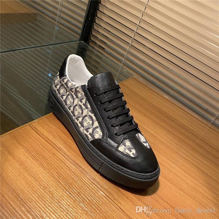 2020 mens baixa top sapatos casuais O estilo de fazer prata incrustada borda sobe sapatos de desporto branco da classe couro
