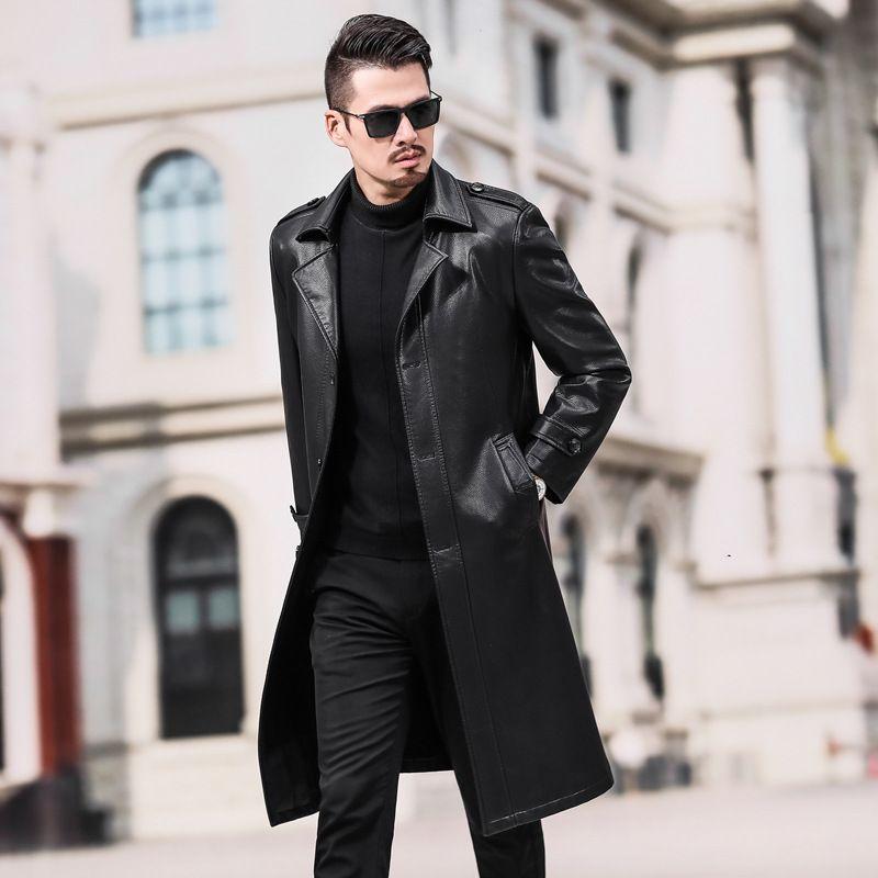 Leather Jacket Men Clothes Autumn Winter Jacket Men Faux Leather Trench Coat Long Casual 2020 Chaquetas Hombre 5588 Pph775