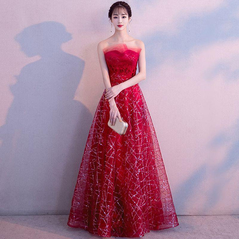 Asian Women Prom Dresses Sexy Tube Top Cheongsam Lace Sequins Full Length Qipao Vestidos Bride Wedding Evening Party Dress Gown