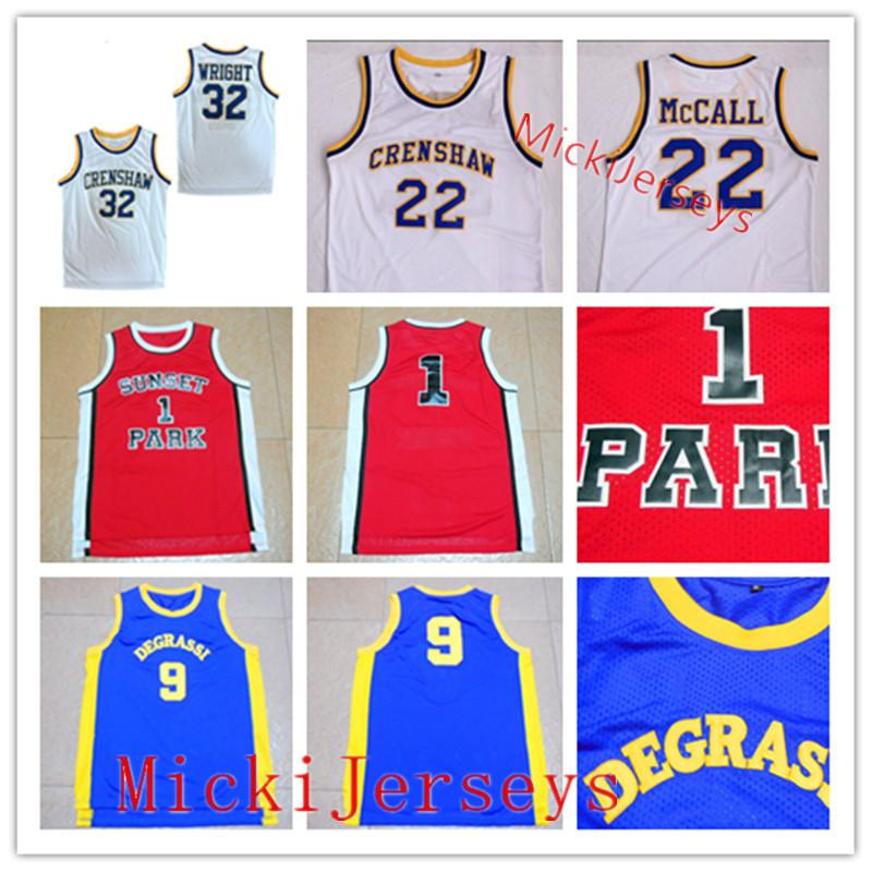 #9 Jimmy Brooks Drake Degrassi Community HS #1 Sunset Park Fredro Starr Shorty #32 Monica Wright 22 Quincy McCall Crenshaw Basketball Jersey
