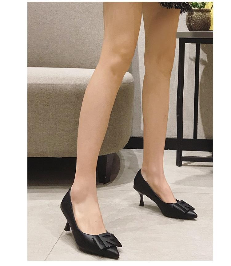 talons aiguilles pointues en cuir souple 2020 nouveau printemps chaussures habillées confortables à talons hauts-chaussures mode casual