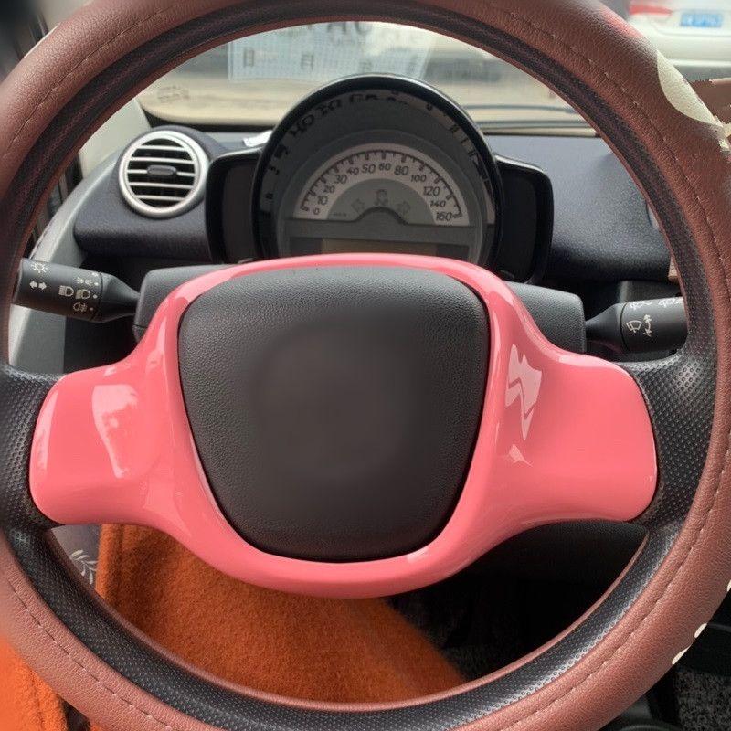 Tampa do painel de volante de carro de plástico para Smart fortwo 2009 2010 2011 2012 2013 2014 Moldagem de roda de direção guarnição autocolante
