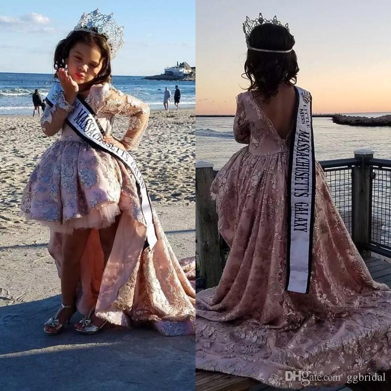 Hübsche Hohe Low Girls Pageant Kleider Prinzessin Eine Linie Lange Ärmel Appliques Kleinkind Kinder Formale Party Prom-Kleider