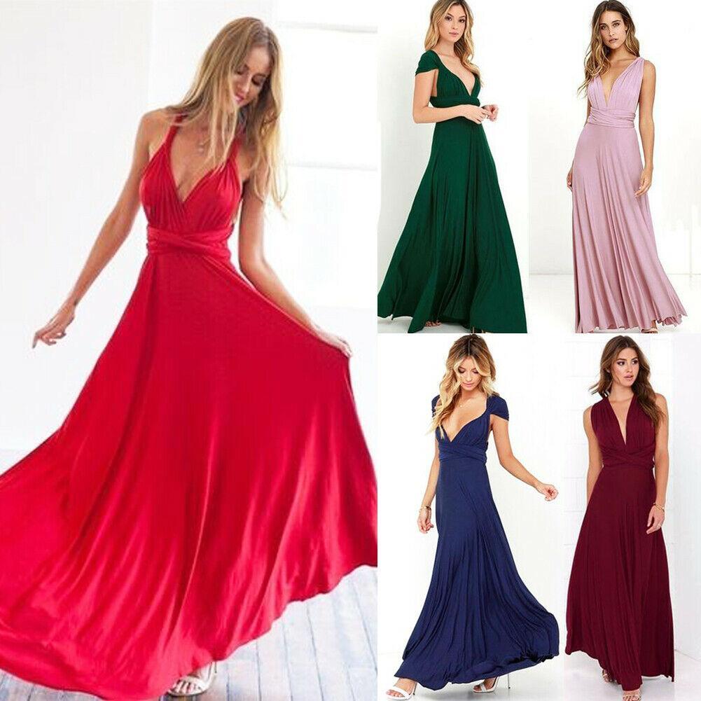 Elegante Frauen Jäten Partykleider Convertible Multi Way Wrap Brautjungfer formales langes Kleid Fest tiefe V reizvolle Laides Kleidung