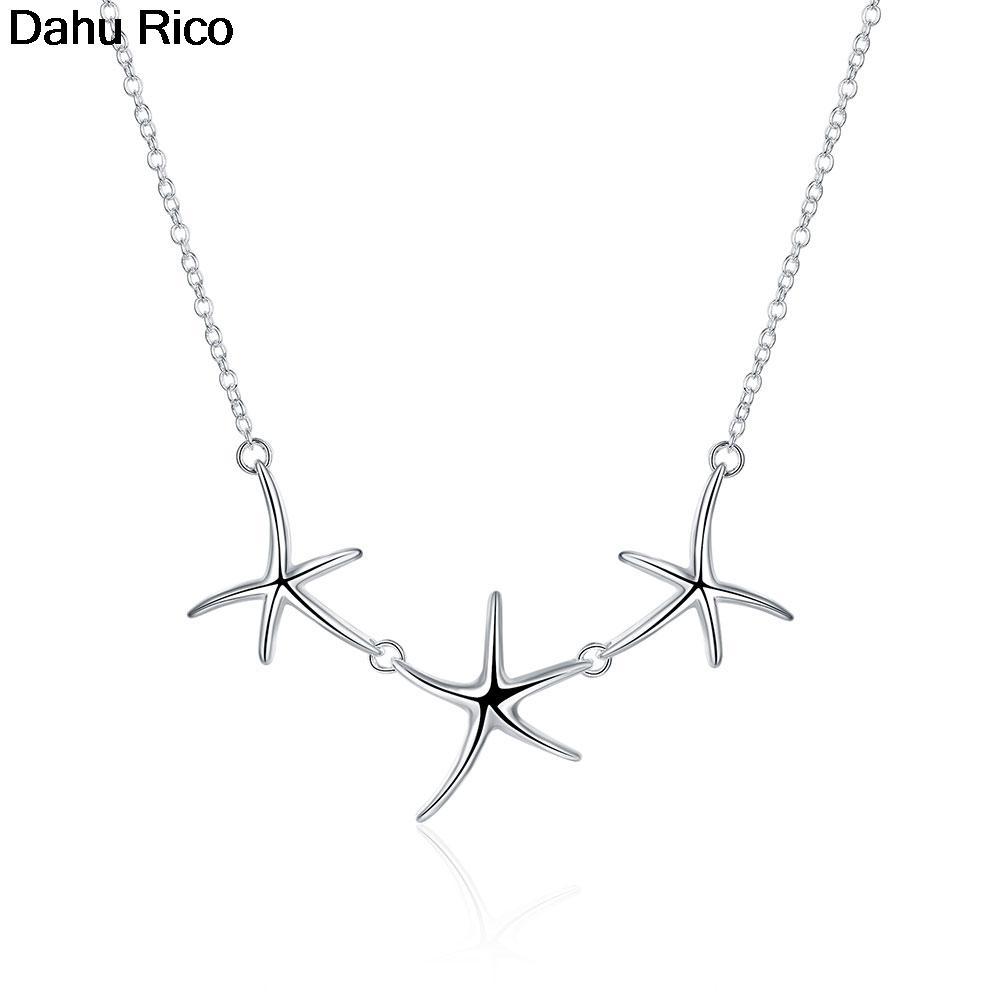 Seestern drei 18 Zoll Größe Stern Pingente Collier Pendentif Anhänger Silber Farbe Estetica Trend Produkt Dahu Rico Halsketten