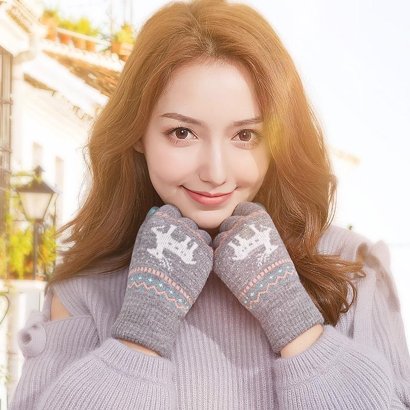 FASHION- cadeaux Gants d'hiver chaud cerf imprimé tricotée Gants écran tactile Femmes plus Velvet Épaissir cyclisme