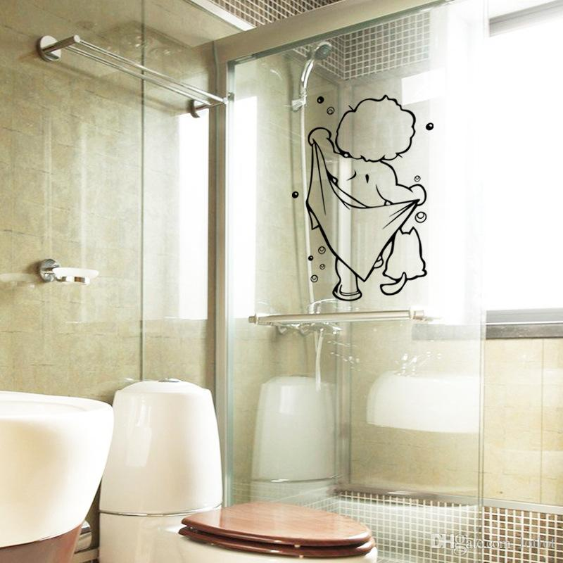 Puerta De Ducha Bañera Baño extraíble a prueba de Agua Pegatinas de Pared Calcomanía Decoración para el hogar