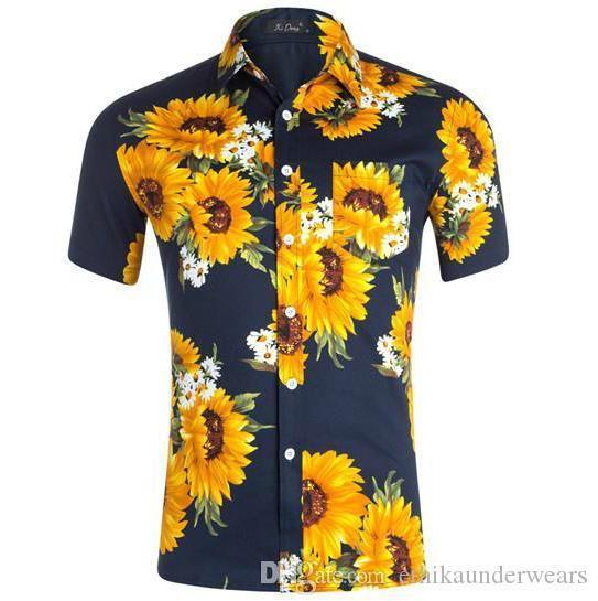 Mens Designer Tournesol imprimés Chemises Casual manches courtes Turn-down col T-shirts Mode couleur naturelle Chemises Vêtements pour hommes