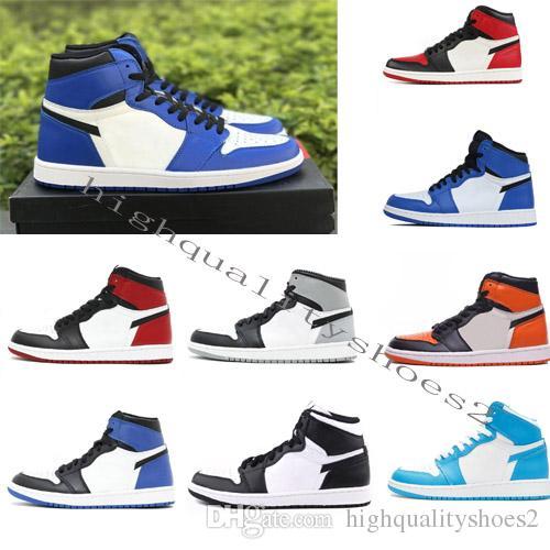 Großhandel Nike Air Jordan 1 I Air Retro Hohe OG Mens Basketball Schuhe Verboten Bred Toe Shadow Gold Top Beste Qualität Designer Herren