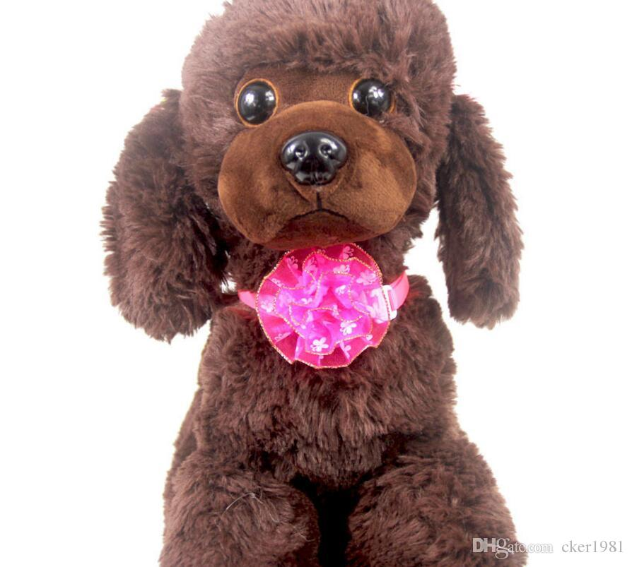 Dog Puppy Adjustable Flower Bow Tie Necktie Collar