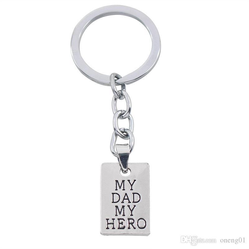 منحوتة خلاقة والدي بطلي الانجليزية الرسائل قلادة المفاتيح علامة الكلب قلادة مفتاح حلقات الاكسسوارات مفتاح أبا سيارة أبي هدية