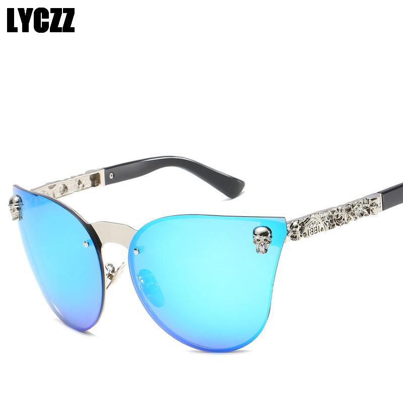 LYCZZ Mujeres Retro Ojo de Gato Gafas de Sol Personalidad Tallada Espejo Pierna Gafas UV400 Gafas de Protección 2019 gafas de sol mujer