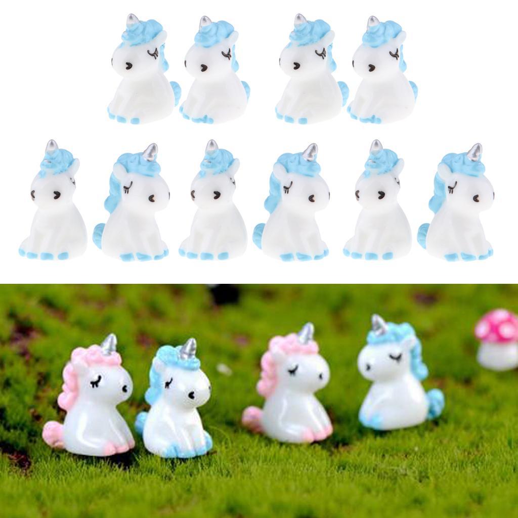 10Pcs Miniature Unicorn Figurine Mini Blue Unicorn Miniature Fairy Garden Dollhouse Micro Landscape Ornaments Gift for Kids Toys