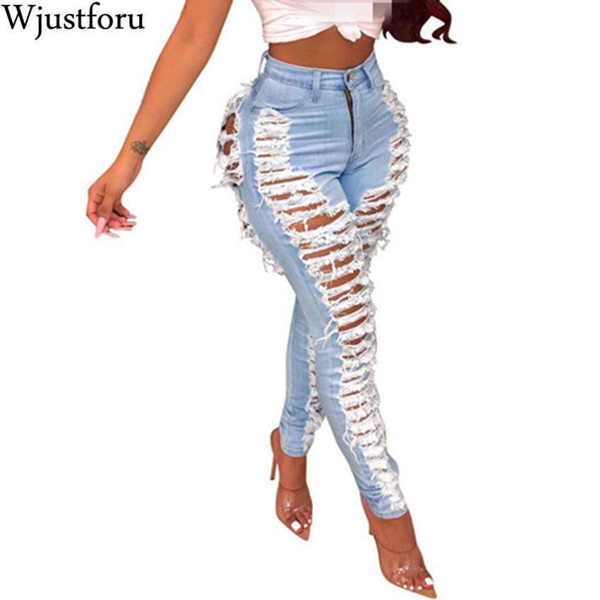 Wjustforu atractiva rasgada Para Mujeres Casual Fashion Club agujero Pantalones vaqueros Femme ajustado de ahueca hacia fuera el lápiz vaqueros largos Vestidos T200103