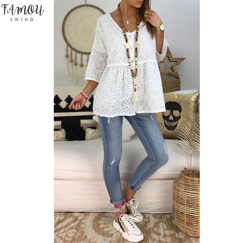 Collo di modo V Bianco pizzo nero allentato Tops Plus Size 5Xl 2020 donna maglietta dei vestiti maglietta casual Autunno Estate maglietta