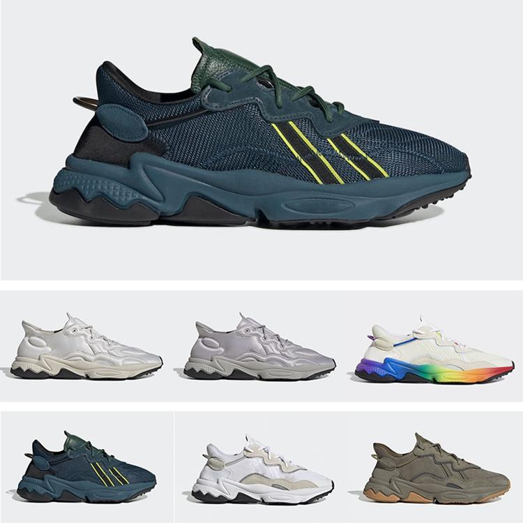 Ozweego Running Shoes tecnologia Neoprene Limpar Granite Nuvem WhiteTrace Carga Rei Empurre Pusha Tecnologia Mineral verde escuro T x Ozweego Orgulho Sneakers