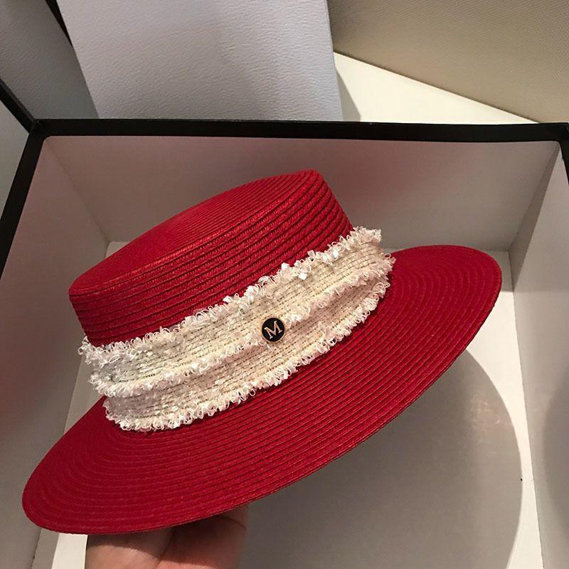 Las mujeres de la moda rojo sombreros de paja estilo de la vendimia sombrero de ala ancha de alta calidad Protección Solar plana gorras