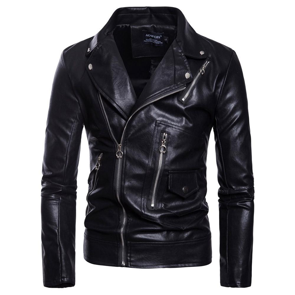 Gothic Plus Size Faux leather jacket Long Sleeve Stand Collar Slim Shirt Casual Cothes Black PU Jacket