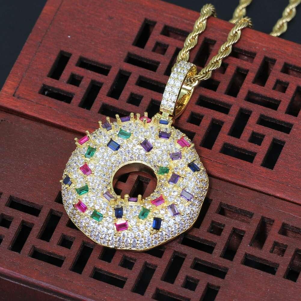 Fashion colorful gem Doughnut pendant necklaces for men women luxury designer cute diamonds dessert pendants 18k gold plated copper necklace