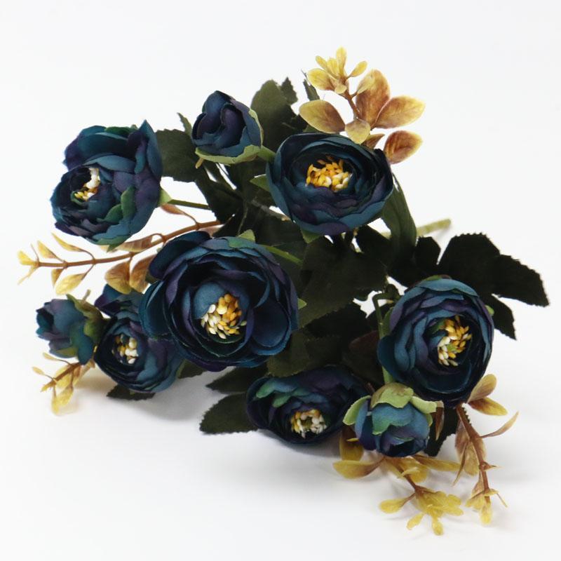 1 Bouquet 9 testa seta artificiale panno falso Fiori Foglia Peony Floral casa festa di nozze della decorazione della casa Blue rose piccolo bouquet