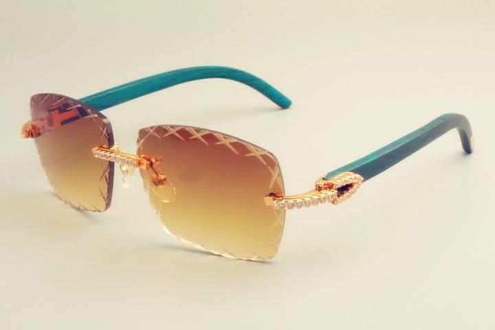 2019 ساخنة جديدة مبيعا عدسة نقش 8300177-B النظارات الشمسية أزياء الماس صغير ظلة مرآة الطبيعي الأزرق خشبي النظارات الشمسية للجنسين