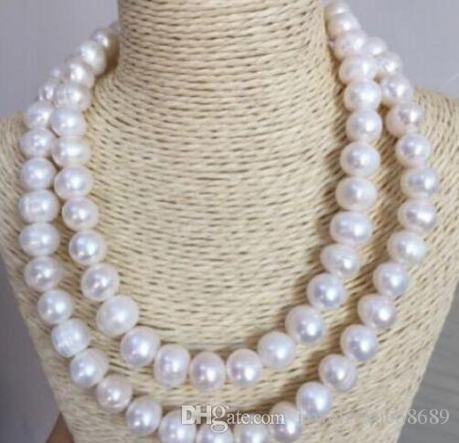"huge 35"" 14-12 MM SOUTH SEA NATURAL White PEARL NECKLACE 14k/20 gold"