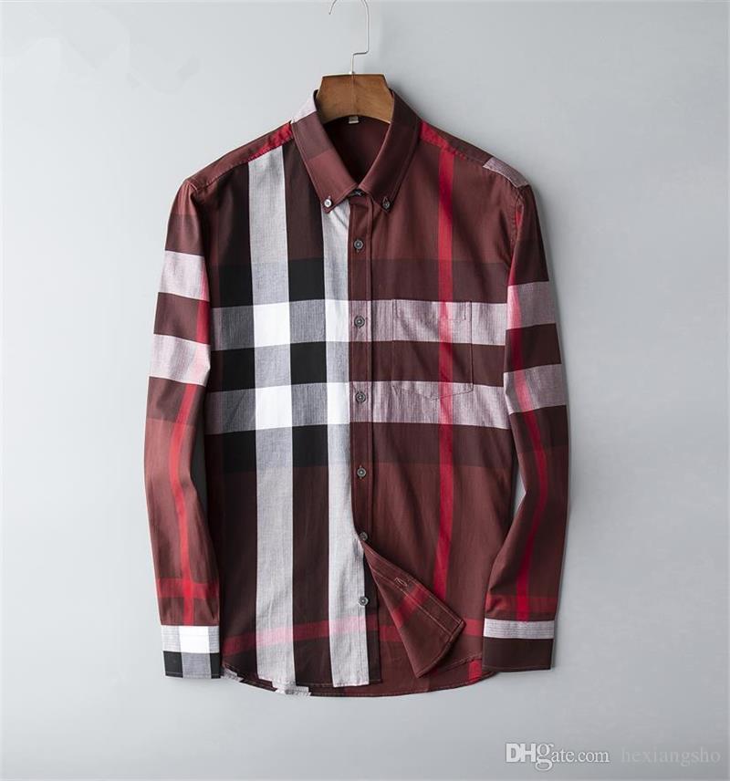 Brand Men's Business Casual shirt mens long sleeve striped slim fit camisa masculina social male T-shirts new fashion man checked shirt 04