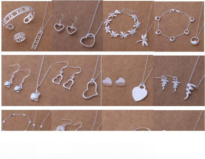 Free Shipping with tracking number New Fashion women's charming jewelry 925 silver 12 mix jewelry set 1460
