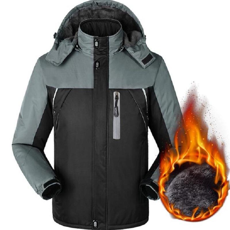 Winter Jacket Men Windbreaker Waterproof Thicken Fleece Warm Jackets Outwear Outdoorsports Overcoat 5XL Hood Jackets