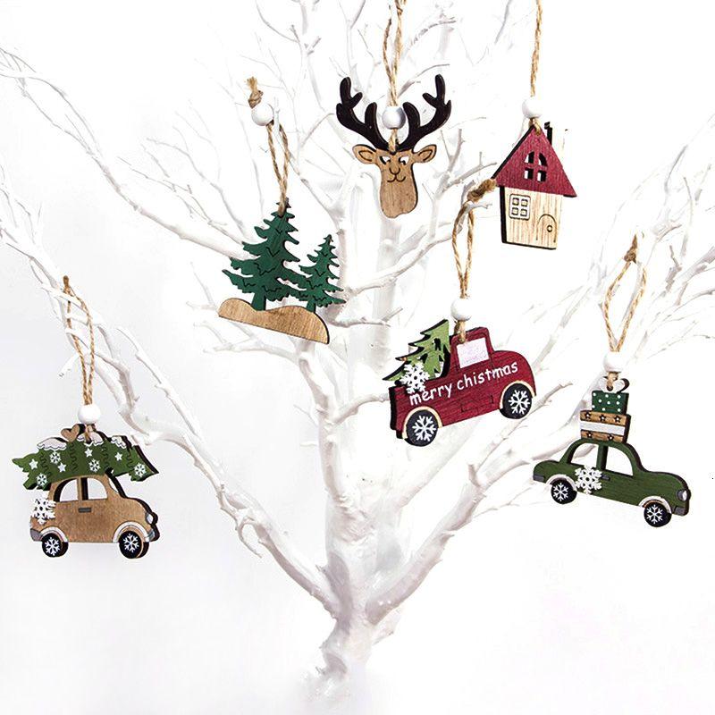 3Pcs Vintage Printed Wooden Car/Elk/Tree Christmas Party Pendant Ornaments DIY Craft Kids Gift Xmas Tree Decoration Supplies SH190918