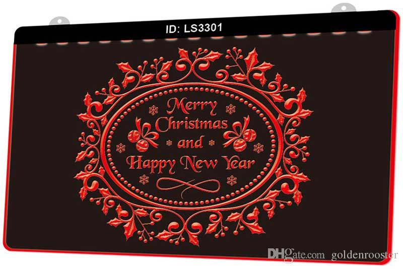 LS3301 Merry Christmas Happy New Year New 3D Engraving LED Light Sign Customize on Demand Multiple Color