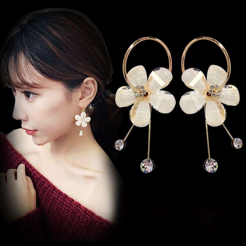 Cristal Flor-Estilo Pendientes de Corea del temperamento simple de la borla de la personalidad pendientes pendientes de gota Pendientes de aro para mujer