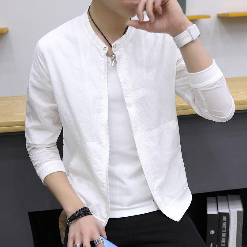 Einfache Mutlicolor Casual-Jacke Men Frühling-wilde 2020 neue koreanische Kleidung O-Ausschnitt Langarm Frühling New loser Mantel männlich