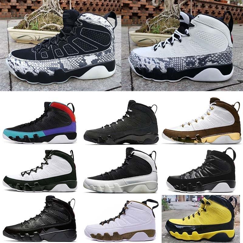 Mens pelle di serpente Jumpman 9 scarpe 9s IX 11 UNC sogno lo faccio Bred Olimpiadi Space Jam rilascio Uomini Trainer Sport Sneaker 7-13