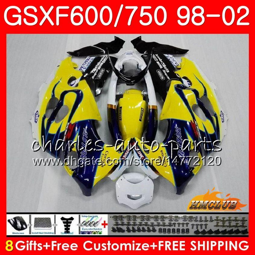 Corpo para Suzuki Katana GSXF 750 600 GSXF600 Blue Venda 98 99 00 01 02 2HC.16 GSX750F GSX600F GSXF750 1998 1999 2000 2001 2002 Kit de justo