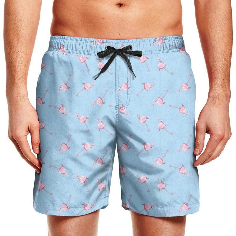 Herren Badehose Floral Pink Flamingo Print Blau beste kreative Sommer Exotische Vögel heiße Geschenke Grün und Strand Board Shorts läuft