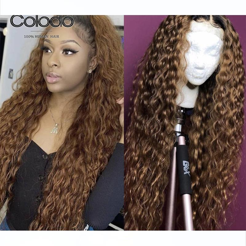 H Colodo 1b Roots Brown Curly Human Hair Wig Pre Plucked 13x6 Lace Front Wig Remy Burgundy Lace Front Human Hair Wigs For Women
