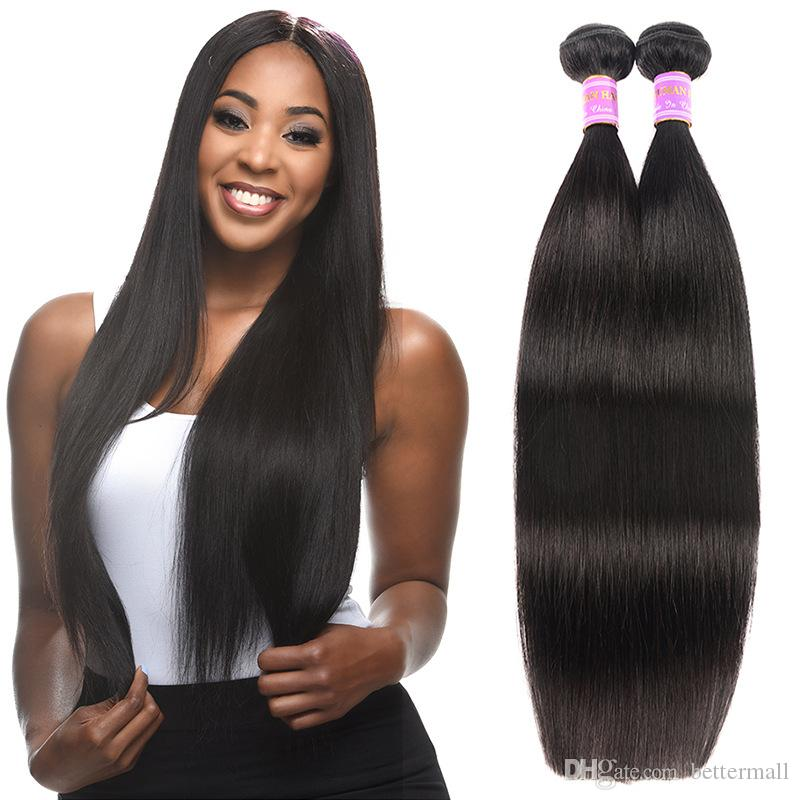 Premium Brazilian straight human hair wefts virgin hair extensions weaves 8-30 inch natural color drop shipping