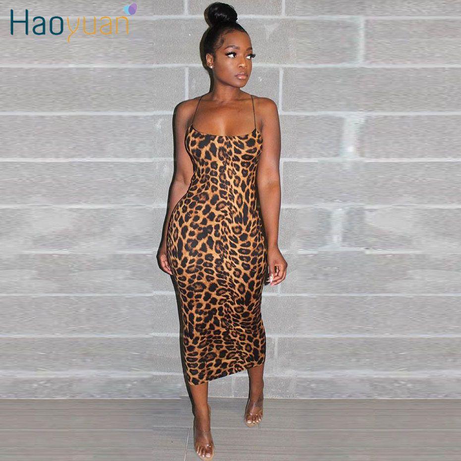 Haoyuan atractivo del guepardo del estampado leopardo de Midi de vestir ropa de las mujeres más del tamaño Vestido elegante de la correa de espagueti de Bodycon del club de noche de los vestidos T200623
