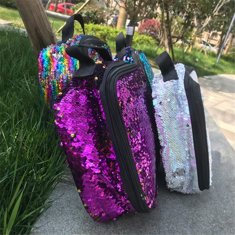 Lentejuela bolsos del almuerzo al aire libre paillett picnic bolsas arco iris bolso impermeable de gran capacidad de aislamiento de las capas dobles bolso más fresco bolsa de asas E312