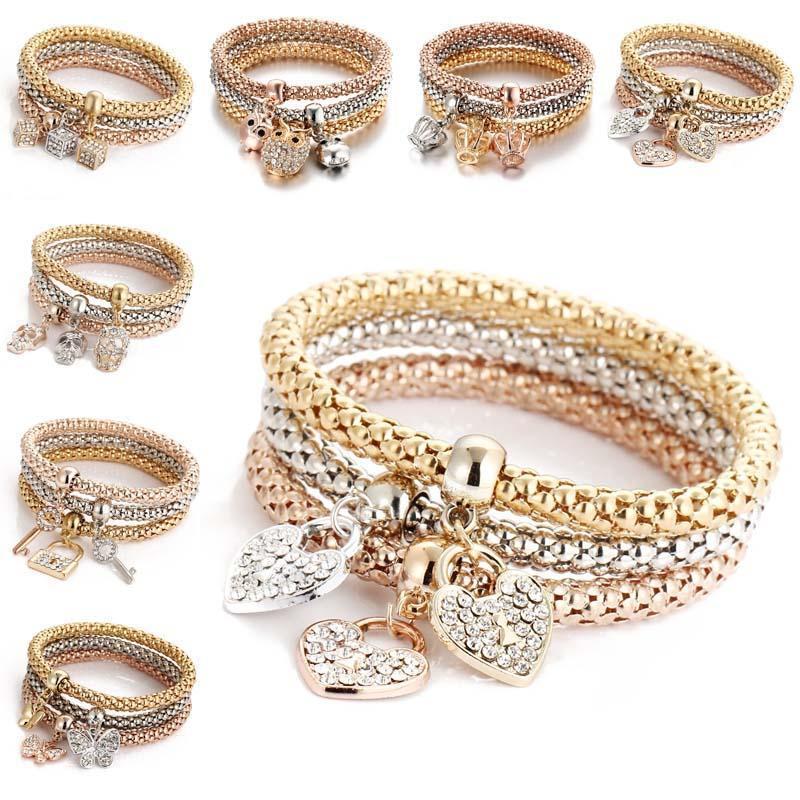 Nuovo braccialetto di cristallo elastico Set cuore serratura a chiave Corona Albero della vita Cranio Elefante gufo Braccialetto di fascino per le donne Uomini Fashion Jewelry Bulk